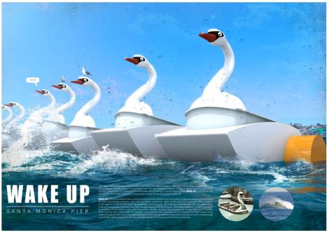 LAGI, Santa Monica, 2016, Wake Up, renewable, energy, CA, water, wave, duck
