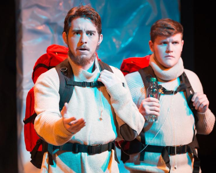 Sterling Oliver (left) and Jacob Edelman-Dolan (right) as hikers, looking across the quickly changing landscape. Forward, Kansas State University Theatre, 2016.