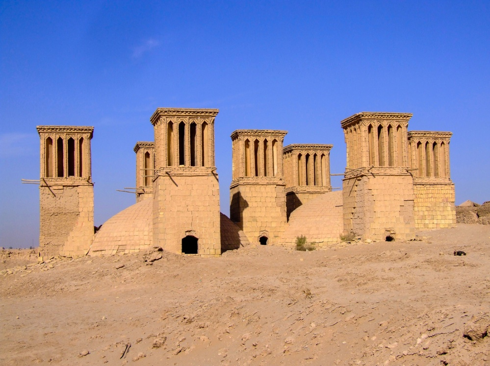 Iran, Persia, architecture, wind catcher, windcatcher, wind tower, wind chimney, ventilation, passive cooling